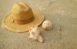 Sombrero de paja marrón natural con las conchas marinas naturales hermosas en la playa de la arena foto de archivo