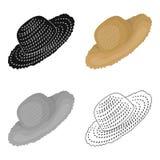 Sombrero de paja para el jardinero Casco para la protección del sol Cultive y solo icono que cultiva un huerto en vector del esti Fotos de archivo libres de regalías