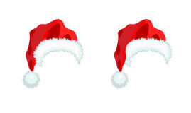 Sombrero de Papá Noel de dos rojos stock de ilustración