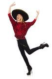 Sombrero de port de femme mexicaine drôle d'isolement Photo stock
