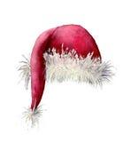 Sombrero de Santa Claus de la acuarela Ejemplo pintado a mano de la Navidad aislado en el fondo blanco Para el diseño, fondo o ilustración del vector
