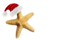 Sombrero de Santa Claus en estrellas de mar Foto de archivo libre de regalías