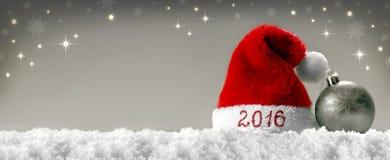 Sombrero 2016 de santa de la Feliz Año Nuevo Imagenes de archivo