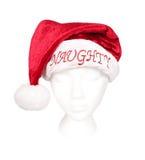 Sombrero de Santa para la persona traviesa Fotografía de archivo libre de regalías