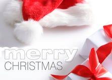 Sombrero de Santa y rectángulo de los chrismas (fácil quitar el texto) Foto de archivo