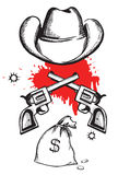 Sombrero de vaquero con los armas de la sangre. Imagen de archivo