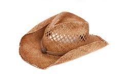 Sombrero de vaquero de la paja en blanco fotografía de archivo libre de regalías
