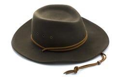 Sombrero de vaquero del fieltro en el fondo blanco Imágenes de archivo libres de regalías