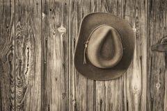 Sombrero de vaquero del fieltro en una pared rústica del granero imagenes de archivo