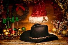 Sombrero de vaquero del oeste americano del rodeo para la tarjeta de Navidad Fotografía de archivo