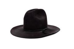 Sombrero de vaquero negro en blanco Imagenes de archivo