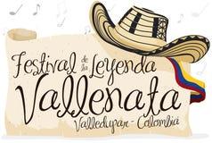Sombrero de Vueltiao, voluta y voluta del saludo para el festival de la leyenda de Vallenato, ejemplo del vector ilustración del vector