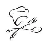 Sombrero del cocinero con el cuchillo y la fork Imagen de archivo