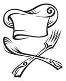 Sombrero del cocinero con la cuchara y la fork Imagen de archivo libre de regalías