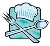Sombrero del cocinero con la cuchara y la fork Imagenes de archivo