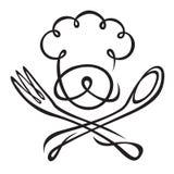 Sombrero del cocinero con la cuchara y la fork Fotos de archivo