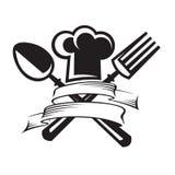 Sombrero del cocinero con la cuchara y la fork Fotografía de archivo