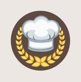 Sombrero del cocinero e icono plano de los granos de oro stock de ilustración