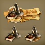 Sombrero del mago y libro viejo Foto de archivo libre de regalías