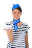 Sombrero del marinero de la mujer que desgasta hermosa Fotografía de archivo libre de regalías