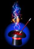 Sombrero del prestidigitador con el fuego rojo ardiente ilustración del vector
