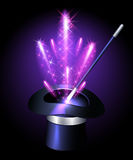 Sombrero del prestidigitador con los fuegos artificiales de la chispa stock de ilustración
