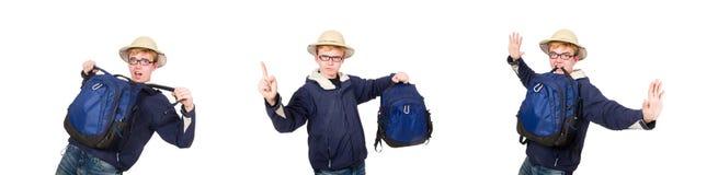 Sombrero del safari del estudiante que lleva divertido foto de archivo