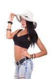 Sombrero del verano de la mujer que lleva atractiva que muestra el gran cuerpo Fotos de archivo