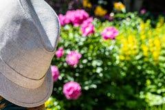 Sombrero del verano de los hombres ligeros Fondo borroso de flores imagen de archivo