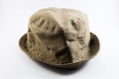 Sombrero del viajero de Brown en el fondo blanco Fotos de archivo libres de regalías