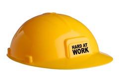 Sombrero duro amarillo con el texto foto de archivo libre de regalías