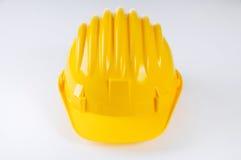 Sombrero duro amarillo en blanco Foto de archivo libre de regalías