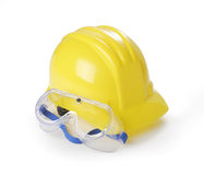 Sombrero duro y gafas de seguridad amarillos Fotografía de archivo libre de regalías