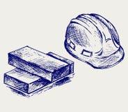 Sombrero duro y ladrillos libre illustration