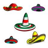 Sombrero eingestellt für Cinco de May auf weißem Hintergrund Lizenzfreie Stockbilder