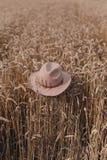 Sombrero en campo de trigo Fotos de archivo
