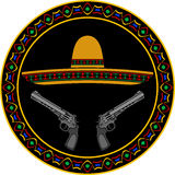 Sombrero en twee pistolen Stock Fotografie