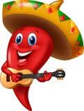 Sombrero för mariachi för chilipeppar som bärande spelar en gitarr vektor illustrationer