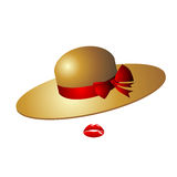 Sombrero femenino lindo del encanto con un arco rojo Se hace de la paja o del FE Imagen de archivo libre de regalías