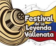 Sombrero festivo de Vueltiao y notas musicales para el festival de la leyenda de Vallenato, ejemplo del vector libre illustration