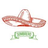 Sombrero hand-tekening Stock Fotografie