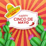 Sombrero hat, Cactus in paper cut style. Pink flowers. Chili pepper. Happy Cinco de Mayo Greeting card. Mexico, Carnival. Circe frame on red. Space for text Stock Photos