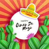 Sombrero hat, Cactus in paper cut style. Pink flowers. Happy Cinco de Mayo Greeting card. Mexico, Carnival. Circe frame. On red. Space for text. Vector royalty free illustration
