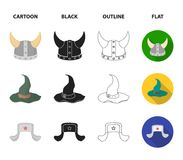Sombrero, hat with ear-flaps, helmet of the viking.Hats set collection icons in cartoon,black,outline,flat style vector. Symbol stock illustration Stock Photo