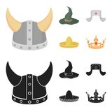 Sombrero, hat with ear-flaps, helmet of the viking.Hats set collection icons in cartoon,black style vector symbol stock. Illustration Stock Image