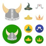 Sombrero, hat with ear-flaps, helmet of the viking.Hats set collection icons in cartoon,flat style vector symbol stock. Illustration Royalty Free Stock Images