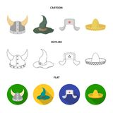 Sombrero, hat with ear-flaps, helmet of the viking.Hats set collection icons in cartoon,outline,flat style vector symbol. Stock illustration Stock Photos