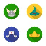 Sombrero, hat with ear-flaps, helmet of the viking.Hats set collection icons in flat style vector symbol stock Royalty Free Stock Photos