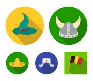 Sombrero, hat with ear-flaps, helmet of the viking.Hats set collection icons in flat style vector symbol stock. Illustration Stock Photos