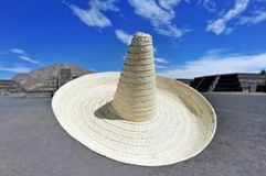 Sombrero hat flies in the air in front of the Pyramids of the Su. N in Teotihuacan, Mexico. Copy space stock image